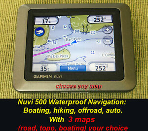 Garmin NUVI 500 for Boating Navigation Hiking + YOUR CHOICE MAPS