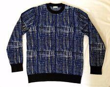 100% Auténtico DIOR HOMME otoño 17 CRUSED EMBROIDERD Suéter de Lana L Azul