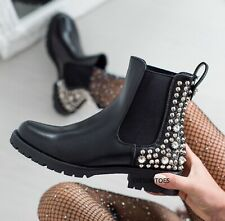 LADIES WOMENS CHELSEA STUDDED CHUNKY PLATFORM BLOCK HEEL ANKLE BOOTS SHOES SIZE