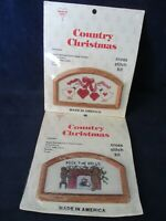 Country Christmas Vintage Framed Cross Stitch Kits Teddy Bear Geese Two New