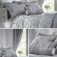 Grey Duvet Covers Damask Jacquard Quilt Cover Luxury Full Bedding Collection