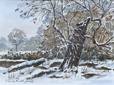Original  painting 'Below Dinefwr, winter snow '  Ready for a 12 x 10 inch frame