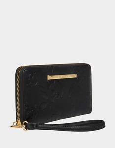Betsey Johnson XOX Betsey Zip Around Wristlet Wallet Black Floral Embossed NEW