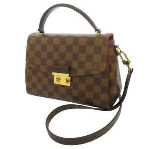 LOUIS VUITTON Croisette Damier Ebene Red N53000 Handbag Shoulder Bag 2way France