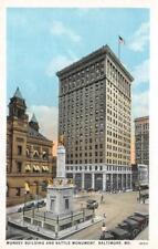 Munsey Building & Battle Monument, Baltimore, Maryland ca 1920s Vintage Postcard