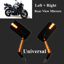 "2PCS 7/8""Amber LED Intergrated Motorcycle Mirror Reversing Left+Right Rearview"