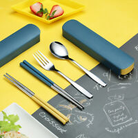 PORTABLE TRAVEL STAINLESS STEEL CHOPSTICKS SPOON FORK TABLEWARE WITH STORAGE BOX