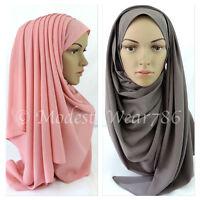 Thick Bubble Pop Chiffon Maxi Hijab Scarf Shawl Wrap Muslim Headwear 175x70cm