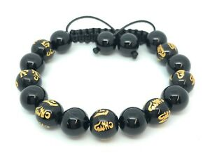 Shamballa Bracelet Onyx Gemstones Om Mani Padme Hum Prayer Mantra Beads UK