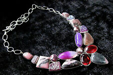 Artistic 925 Silver Overlay Rhodonite / Agate / Druzy & Gem Necklace
