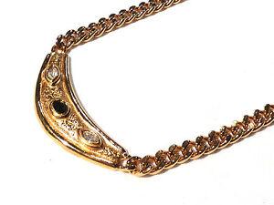 Bijou alliage doré collier haute couture motif demi-lune signé Carita necklace