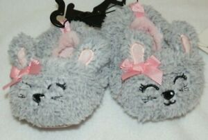 New Baby Girls size 3 Bunny Rabbit Slippers Non-Skid dots Gray Pink Bows Easter