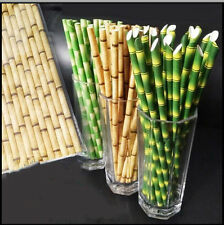 25Pcs Visual 3D Simulate Bamboo Paper Straw Holiday Party Green  Oblique Opening
