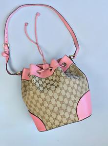 Gucci GG monogram Calfskin Canvas Bucket Bag Medium Pink 100% Authentic