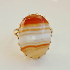 Fine Antique Victorian Scottish 9ct Gold Banded Agate Ring c1900; Size 'K 1/2'