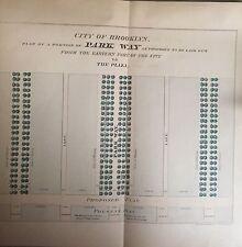 1864 EASTERN PARKWAY BROOKLYN NY VAUX & OLMSTED ORIGINAL BLUEPRINT MAP 9X9 1/2