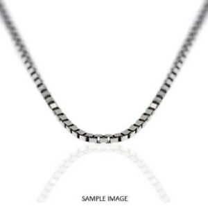 "14k Solid White Gold Finish Box Chain Link Necklace 18"" Inches Long Unisex"