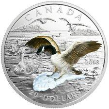 20 $ Dollar 3D Approaching Canada Goose 3D Gans Kanada 1 oz Silber PP 2018
