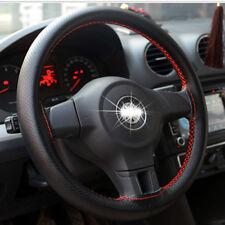 38cm Autolenkungsabdeckung Lenkradbezug Schwarz Rot Leder Lenkrad Hülle Schutz
