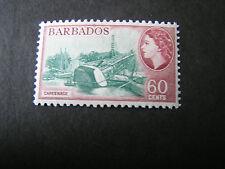 BARBADOS, SCOTT # 245, 60c. VALUE CARMINE/BLUE 1953-57 QE2 DEFINITIVE ISSUE MVLH