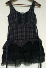 Charlotte Russe Womens Navy Blue Plaid Lace Ruffle Tie Back Lined Sleeveless Top