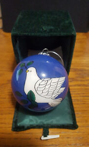 DOVE Hand Painted Glass Ornament with Decorator box by Christmas House