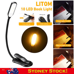 10 LED Reading Light USB Rechargeable Stand Light Clip On Bed Book Reading Lamp