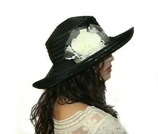 Kentucky Derby, Tea Party, Summer Wide Brim Hat with Flower, Color: Black