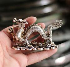 Old Copper Bronze carved Silvering Dragon Shoe-shaped ingot Wealth Statue