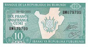 Burundi 10 Francs 2005 Unc pn 33e