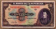Colombia VF/XF Note 10 Pesos Oro January 1950
