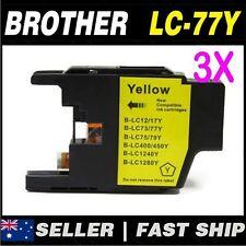 3x Yellow ink for Brother LC73 LC77XL for MFCJ6510DW, MFCJ6710DW, MFCJ6910DW