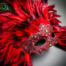 Red Tall Feather Venice Carnival Mask for Women Masquerade Sexy Venetian Costume