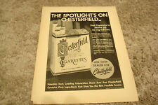 "CHESTERFIELD CIGARETTES 1948 Liggett & Myers ad ""Spotlight's On Chesterfield"""