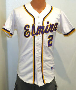 vtg ELMIRA BASEBALL #2 Team Issue JERSEY sz 38 Russell Athletic 90s game sewn S