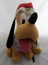 "Disney Store Christmas Pluto Plush w/ Hat Scarf Tag 13"" Stuffed Animal"