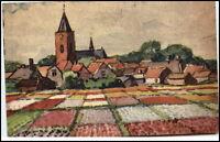 Künstlerkarte ~1925 Dorf Ortsmotiv mit Blumenmeer Künstler Verlag unbekannt
