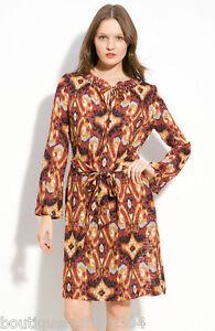 NWT $395 New Designer Tory Burch Womens 0 Silk Dress Rust Red Black Orange Gold