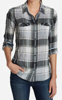 Eddie Bauer NEW Womens Large Classic Cotton Plaid Shirt Top Gray Multi ~ NWT $50