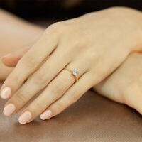 0.30 Ct Round Cut Diamond Engagement Solitaire Ring 14K Rose Gold Band 7 6 8.5