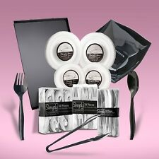 250 Piece Disposable Dinner Set With Silver Rims For 40 People
