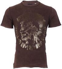DIESEL Mens S/S T-Shirt MIREY Indian Head BROWN Designer Jeans M-L $98