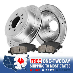 Rear Drill Slot Brake Rotors And Ceramic Pads For Ford F150 Lincoln Mark LT