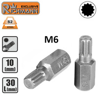 """Embout M6 SPLINE XZN 12p entrainement 10 mm 3/8"""" Acier S2 HAUTE QUALITÉ RICHMANN"""