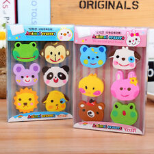6 Pcs Funny Animals Pencil Rubber Eraser Erasers Stationery KidsNovelty Gifts