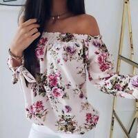 Women's Long Sleeve Off Shoulder Loose Blouse Casual Shirt Summer Tops T-Shirt
