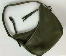 The Sak Hobo Bag Pebbled Leather Olive Green Braided Tassels 3 compartments EUC
