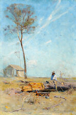 Arthur Streeton, The Selector's Hut 1890, Fade Resistant HD Art Print or Canvas