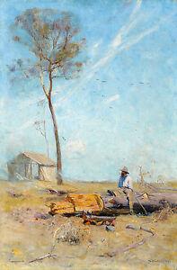 Arthur Streeton, The Selector's Hut 1890, Fade Resistant HD Art Print or Canvas