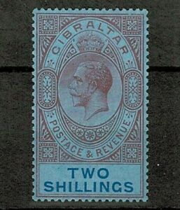 Gibraltar 1912 KGV 2sh Dull Purple and Blue on Blue SG82 Unmounted NHM Mint